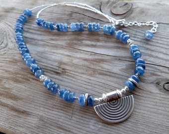 Beautiful Blue Kyanite Fine and Sterling Silver Gemstone Necklace with Hill Tribe Silver Pendant