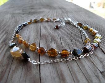 Yellow and Orange Tourmaline Gemstone and Birthstone Sterling Silver Bracelet