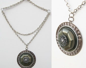 Mixed Media circle frame Necklace - Nespresso jewelry, Recycled, Upcycled, Eco friendly coffee capsules necklace.