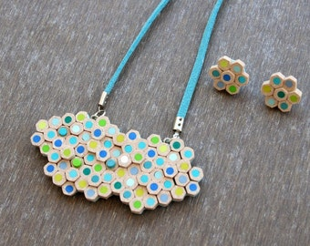 Set of Blue and Green Unusual Pencil slice Necklace and Earrings  - Handmade Polymer Clay Faux Pencil jewelry
