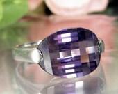 Vintage STERLING AMETHYST RAINBOW Ring Silver Fancy Cut Modern Design Sz 7.75