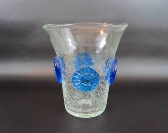 Vintage Clear Crackle Glass Vase with Applied Blue Rosettes by Blenko. Circa 1960's.