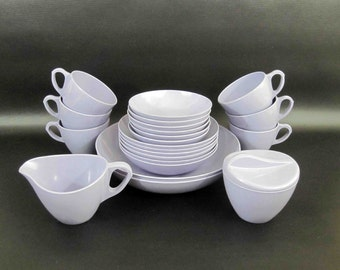 "Vintage 22 Piece Melamine Dishware Set in Lavender by ""Royalon Inc"". Circa 1960's."