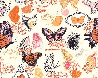 Butterfly Sketchbook Orange Sandi Henderson Michael Miller Fabric, Choose your cut