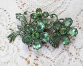 Large Vintage Green Glass and Rhinestone Brooch / Pin / Broach,  Green Flowers / Floral, Paint / Painted Silver Tone Metal