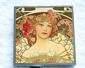 Compact Mirror - Champagne Printer Publisher by Alphonse Mucha