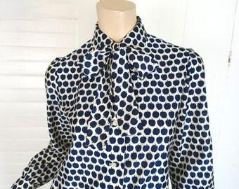 Blue Apples Bow Blouse- 60s / 70s Fruit Print- 1970s Secretary- Navy & White- Small
