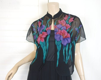70s Iris Dress in Jade, Violet, & Black- 1970s Chiffon- Disco / Studio 54 / Formal / Prom