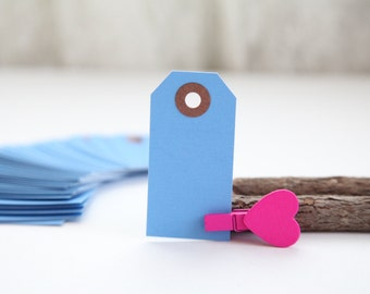 25 - BLUE- MINI Gift Tags - 2 3/4 x 1 3/8, Packing Tags, Shipping Tags, Holiday Tags, Favor Tags
