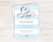 Oh Boy Blue and White Striped Little Gentleman Elegant Baby Shower Invitation