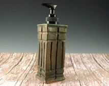 Pottery Soap Dispenser - Ceramic Soap Pump - Arts and Crafts Mission Style - Hand Soap Dispenser - 852