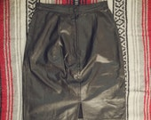 Vintage black leather knee length skirt size 7-8
