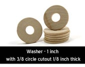 Unfinished Wood Washer - 1 inch outer diameter with 3/8 inner hole and 1/8 inch thick wooden shape (WW-WND100)