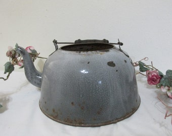 Enamel Teapot Shabby Planter Teakettle Chippy Gray Granite Farmhouse Decor (read details)