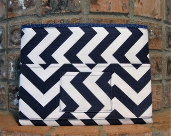 Navy  and White Chevron Magazine & Tract Bag, Tablet Sleeve, With Contact Card Pocket
