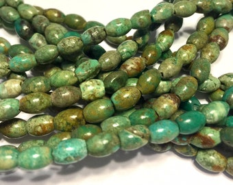 petite REAL TURQUOISE rice shaped beads full strand