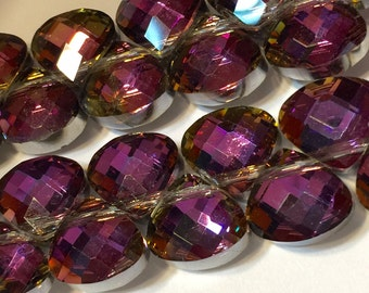 Plum Faceted Crystal briolettes flat heart top drilled checker faceted