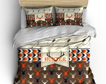 Custom Personalized Deer Head and Antler Bedding Set -Available Twin-TWXL-Queen- King  size - shown  brown, toast, tan and orange -any color