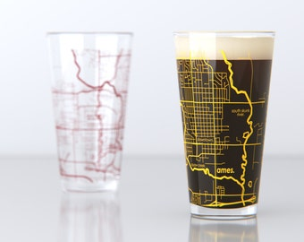 Ames, IA - Iowa State - College Town Pint Map Glasses