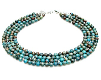 Jasper STATEMENT Necklace Blue Calsilica Jasper Faceted Gem Beads Multi Strand Turquoise Rustic Boho Chic Goddess Couture Style by Mei Faith