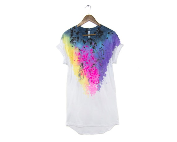 "Spectrum Rainbow Shift - Original ""Splash Dyed"" Crew Neck Pinned Rolled Cuffs Oversized Tee Dress in White - Women's Size S-2XL"