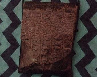 Leather bag - Dark brown - Alligator look