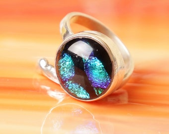 Handmade Dichroic Fused Glass Sterling Silver .925 Adjustable Ring