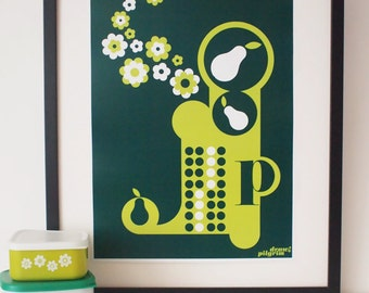 Letter P - from the alphabet series, bold mod A3 poster print