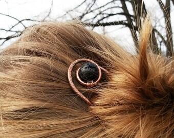 Rustic copper hair stick Boho hair fork Minimalist hair accessories Metal hair stick Bun holder Womens gift For her Womens accessories