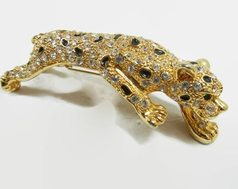 Rhinestone Leopard Pin / Multi color Brooch with black enamel, gold dots and white rhinestones / Vintage pin / Wild cat / gift / green eyes