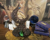 Moon Book & Scroll Stand dollhouse miniature, Moon Goddess, witch, Halloween in 1/12 scale
