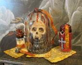 Vampire Skull circa 1523 dollhouse miniature, gothic, Vlad, spooky, haunted, Halloween, vampyre in 1/12 scale