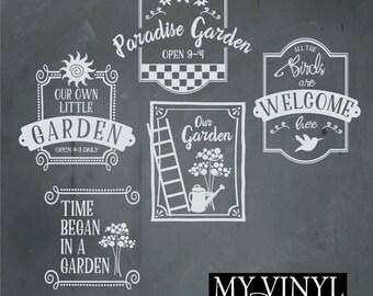 Garden SVG Files, Garden Art Cuttable SVG, Garden Sign SVG, Svg, Eps, Gsd, Ai, Vinyl Cut Files for Silhouette, Cricut, and more