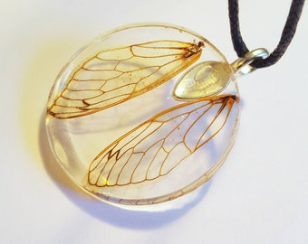 Real Cicada Wings  Nature Pendant Resin Boho Necklace Bohemian Jewelry  Earth Woodland Insect Bugs Adjustable Fairy Wings Round Clear