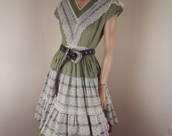 Vintage western Dress, mexican dress, square dance