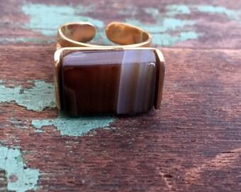 Vintage Brown Banded Agate Ring Rectangle Modernist Adjustable