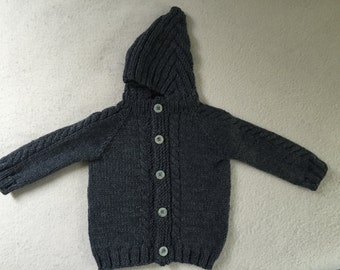 Hand Knit Cardigan Baby Sweater With Hood 12 to 18 Months Wool Charcoal Gray Heather Cables Free US Shipping!