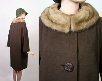 Vintage Cashmere Fur Coat /  50s Swing Coat / 1950s Dress Coat / 1960s Winter Coat / 60s Stroller Coat / Mocha Brown / Mid-Century