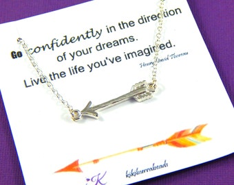 Arrow Necklace, Graduation Gift, Silver Arrow Necklace, Inspirational Quote Necklace, High School Graduation