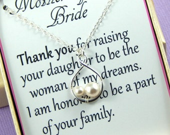 Mother Of The Bride Necklace, Mother in Law Gift, Mother of the Bride Gift, Sterling Silver Infinity Necklace
