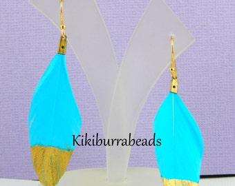 Feather Earrings, Blue Feather Earrings Dipped In Gold, Gold Filled Earrings