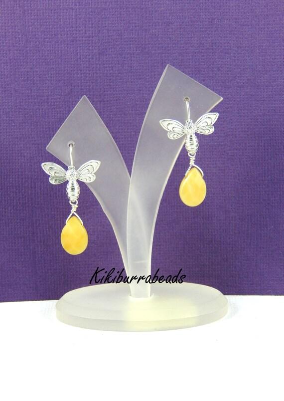 Bee earrings, Silver Bee Earrings, wire wrapped earrings, gemstone earrings, silver earrings