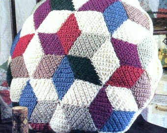 INSTANT DOWNLOAD PDF Vintage Crochet Pattern Quilted Diamond Patchwork Pillow Cushion