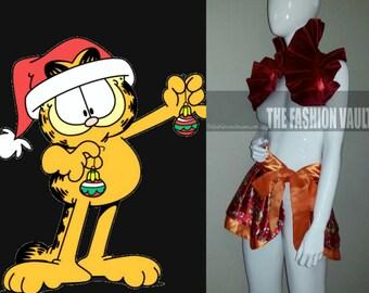Sample Cosplay Anime  Cat Garfield burlesque set  bolero wrap and apron skirt