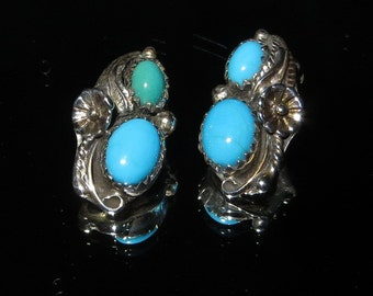 """Sharon Cisco Sterling Silver Turquoise Stone Earrings Clip On 3/4"""" Tall"""