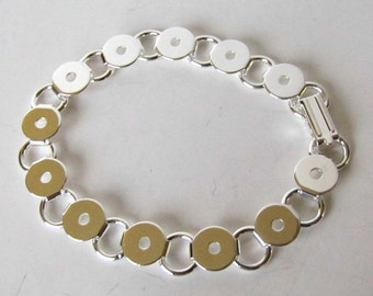 Bracelet Blank  Discs , Loops Blank 7.5 inch , 12 blank discs, 13 connecting loops . silver plated, fold over clasp   Item #1056