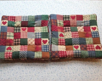 red country hearts with burgundy backs hand quilted set of 2 potholders hot pads