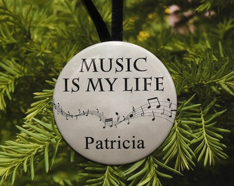 Music Is My Life Personalized Ornament - music notes - customized - C065