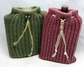 His and Hers Flask Jackets, Cozy, Cover, Warmer, Sweater, Hip, Pocket, Purse, Liquor, Upcycled, Recycled Sock, Pink, Green