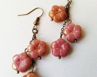 Pink Floral Czech Glass Triple Dangling Earrings